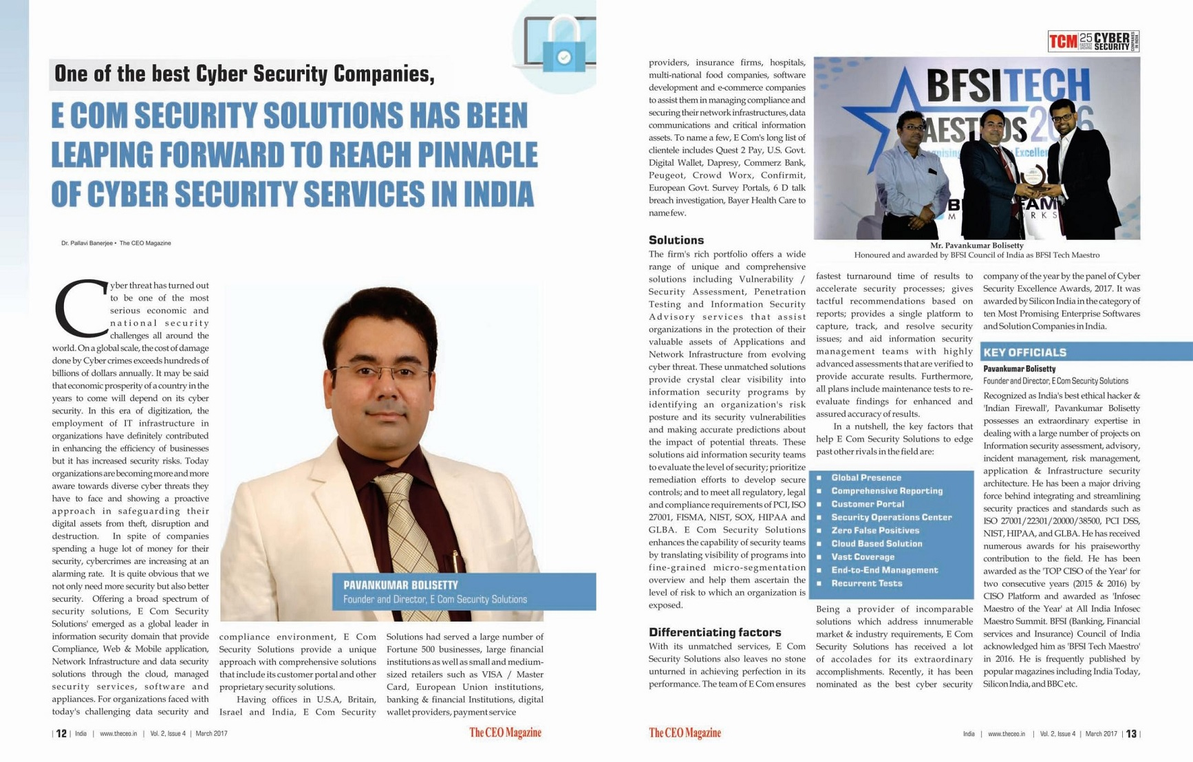 E Com Security Solutions Named 2017 Best Cyber Security
